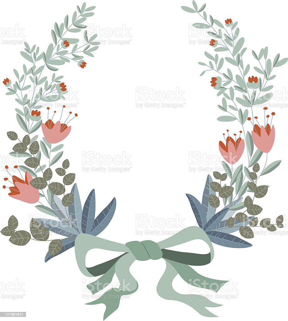 Illustrated wreath made of floral and ribbons royalty-free stock vector art