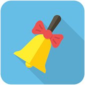 Illustrated yellow school bell icon with long shadow