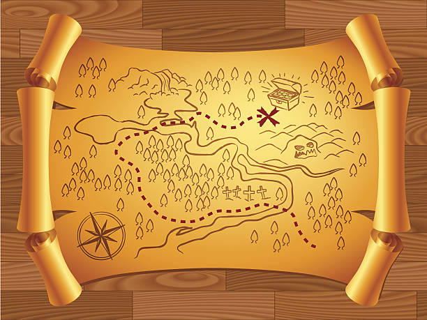illustrated yellow treasure map on wooden background - treasure map backgrounds stock illustrations, clip art, cartoons, & icons