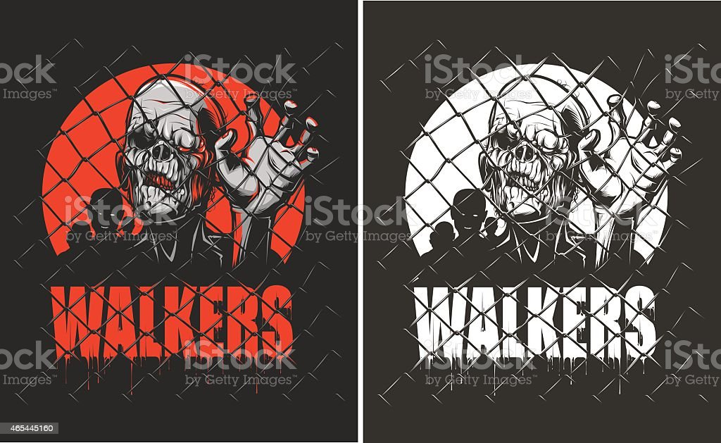 Illustrated zombies behind fence. Walkers poster vector art illustration