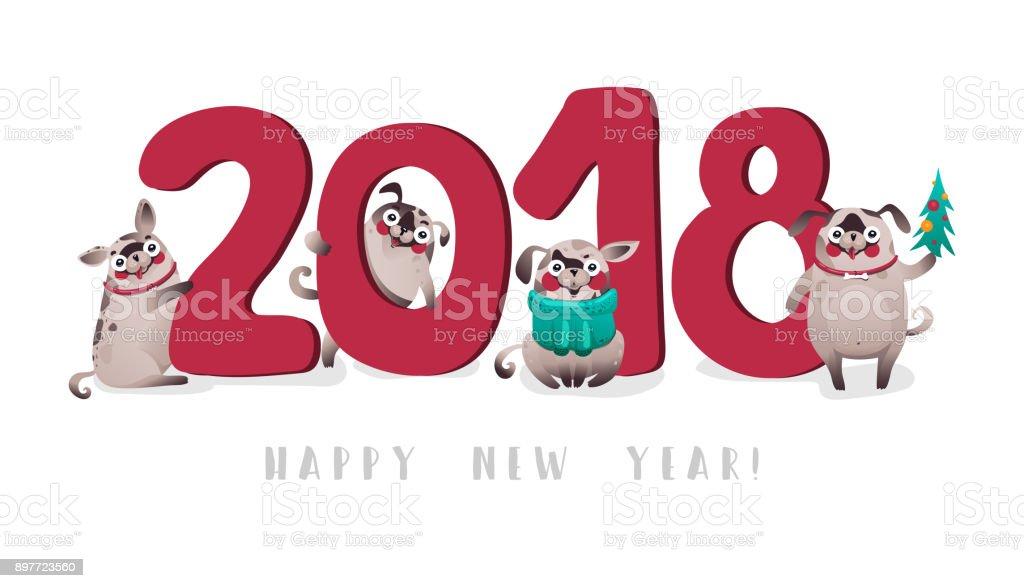 illustration 2018 cute dogs on white happy new year royalty free illustration