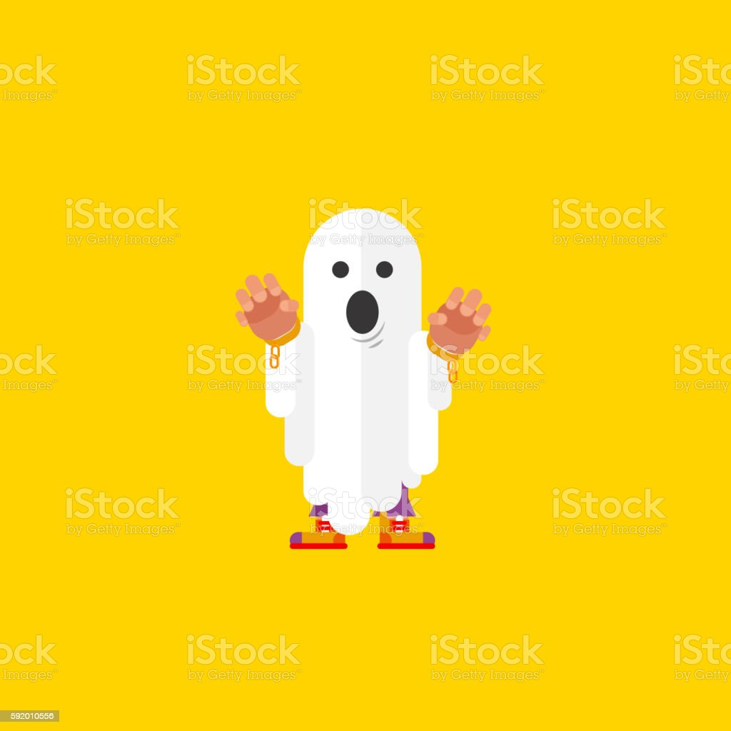 illustration a ghost character for halloween in  flat style vector art illustration