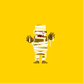 illustration a mummy character for halloween in  flat style
