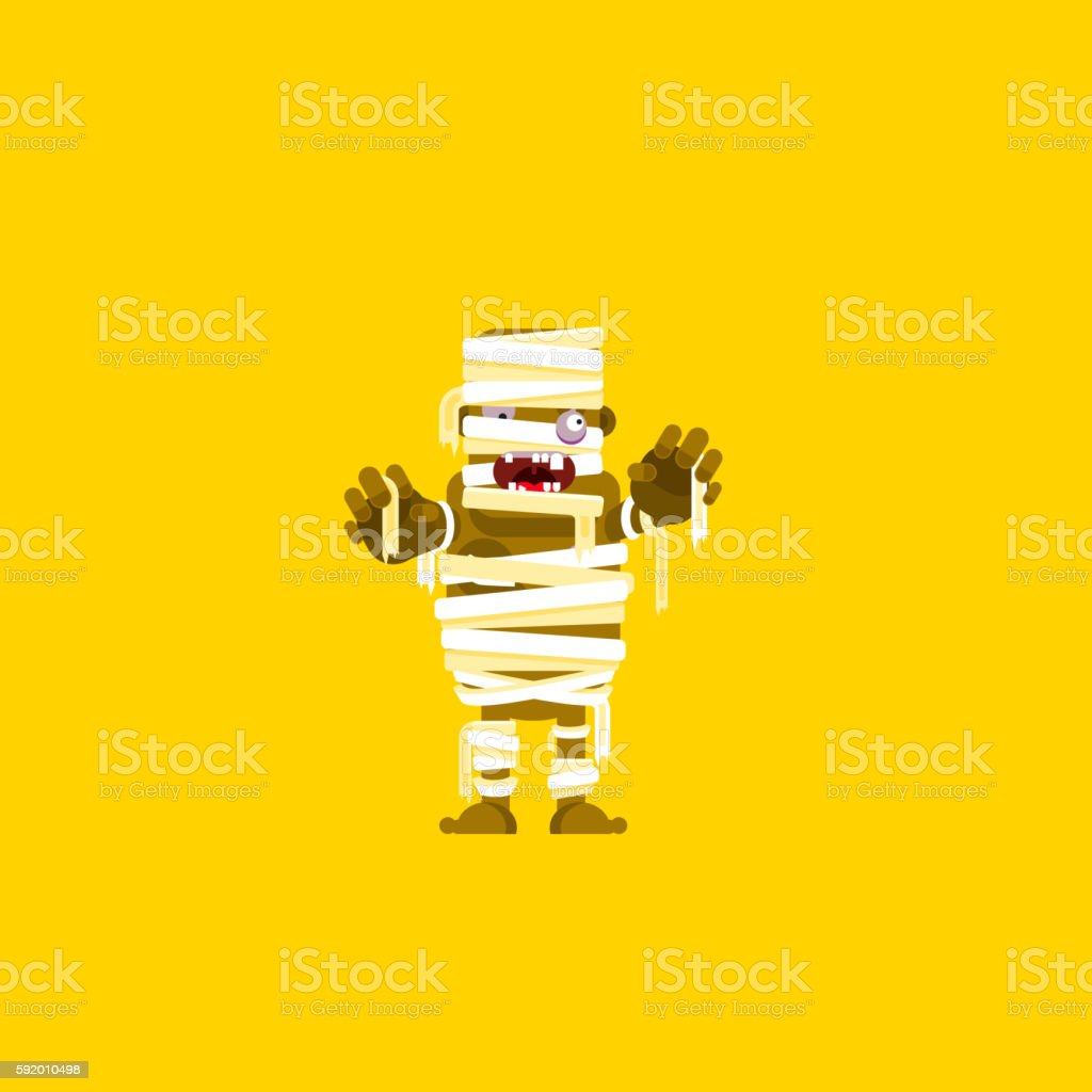 illustration a mummy character for halloween in  flat style - Illustration vectorielle