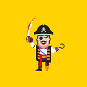 illustration a pirate character for halloween in  flat style