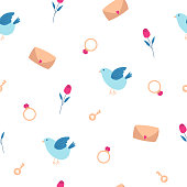 illustration a seamless pattern with a blue bird, an envelope with a heart, ring, key, rose and hearts on a white background. to valentine's day. For design, cards, flyers, fabric.