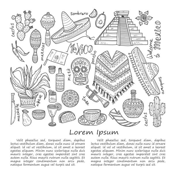 Illustration about Mexico Illustration with Mexico related hand drawn icons including maracas, poncho, food, cactuses and others. Doodle vector Mexico related collection avocado silhouettes stock illustrations