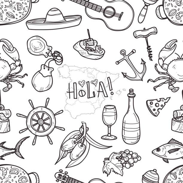 stockillustraties, clipart, cartoons en iconen met illustratie over spanje - castagnetten