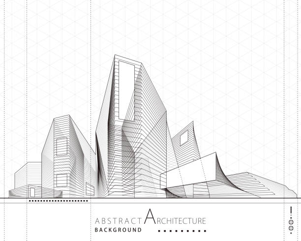 3D illustration Abstract Architecture Building Line Drawing. 3D illustration architecture building construction perspective design,abstract modern urban building line drawing. architecture drawings stock illustrations