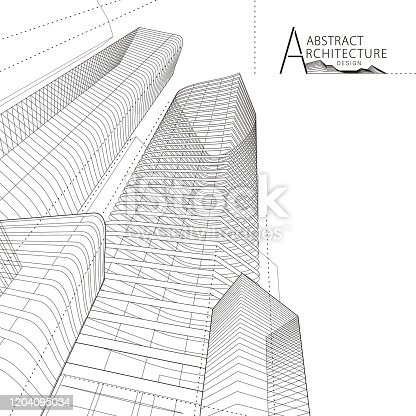 3D illustration architecture building construction perspective design, abstract modern urban building line drawing.