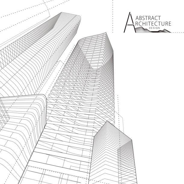 stockillustraties, clipart, cartoons en iconen met 3d illustratie abstract architecture building line drawing. - wolkenkrabber