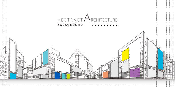3d illustration abstract architecture construction background. - abstract architecture stock illustrations