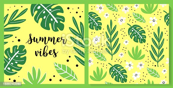 istock Illustration and seamless pattern with cute summer leaves 1335240390