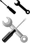 Illustration and silhouette of wrench and screwdriver