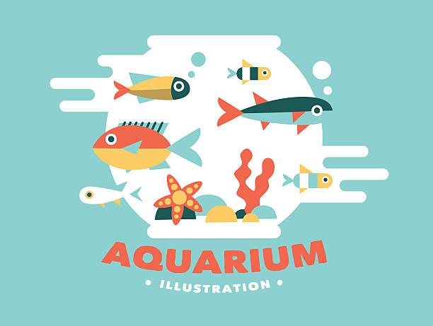 illustration aquarium with fish, flat style vector art illustration
