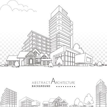 3D illustration Architecture Building Decorative Design.