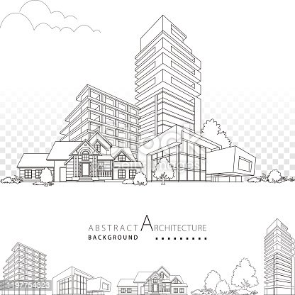 3D illustration black and white architecture drawing, modern architecture building decorative design,  abstract urban landscape.