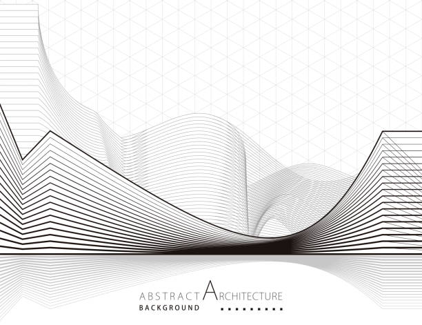3d 삽화 건축 구조 추상 배경 - abstract architecture stock illustrations