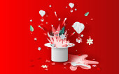 illustration art of bonfire and fireworks art decorations in Christmas with hat concept. Creative design paper cut and craft for festival party holiday winter season. Graphic red idea vacation vector.