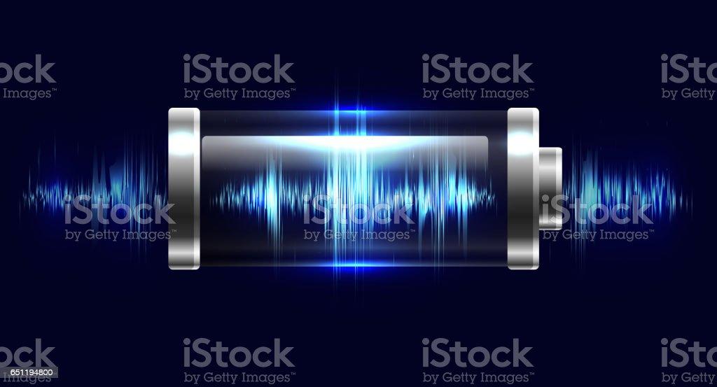 Illustration batteries with electric charge, resonance, pulse vector art illustration