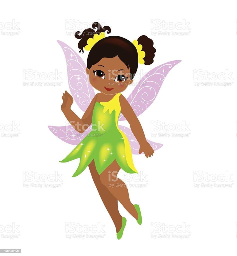 Illustration  beautiful yellow-green fairy Isolated on white background. vector art illustration