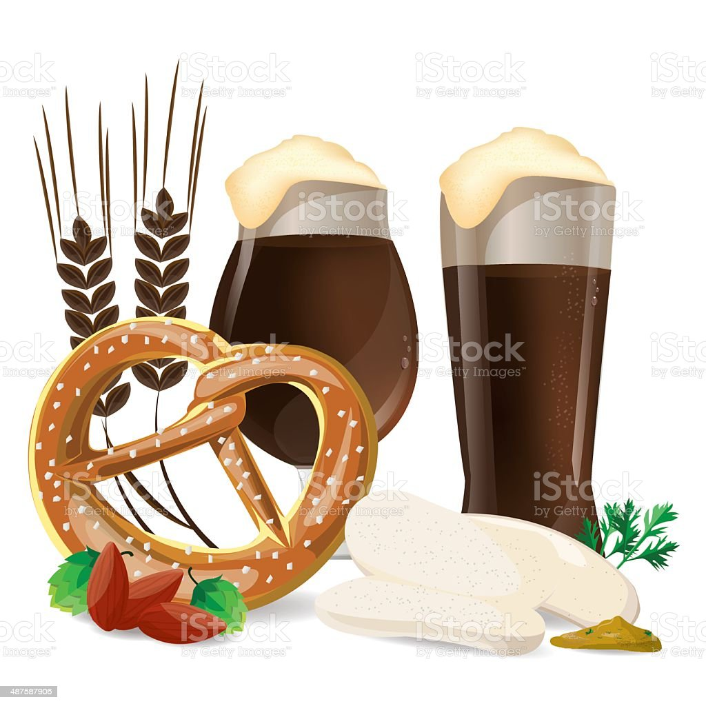 illustration beer and food german on white,vector vector art illustration
