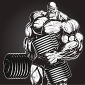 Illustration: bodybuilder with dumbbell