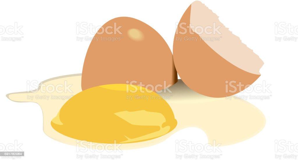 Illustration broken egg vector art illustration