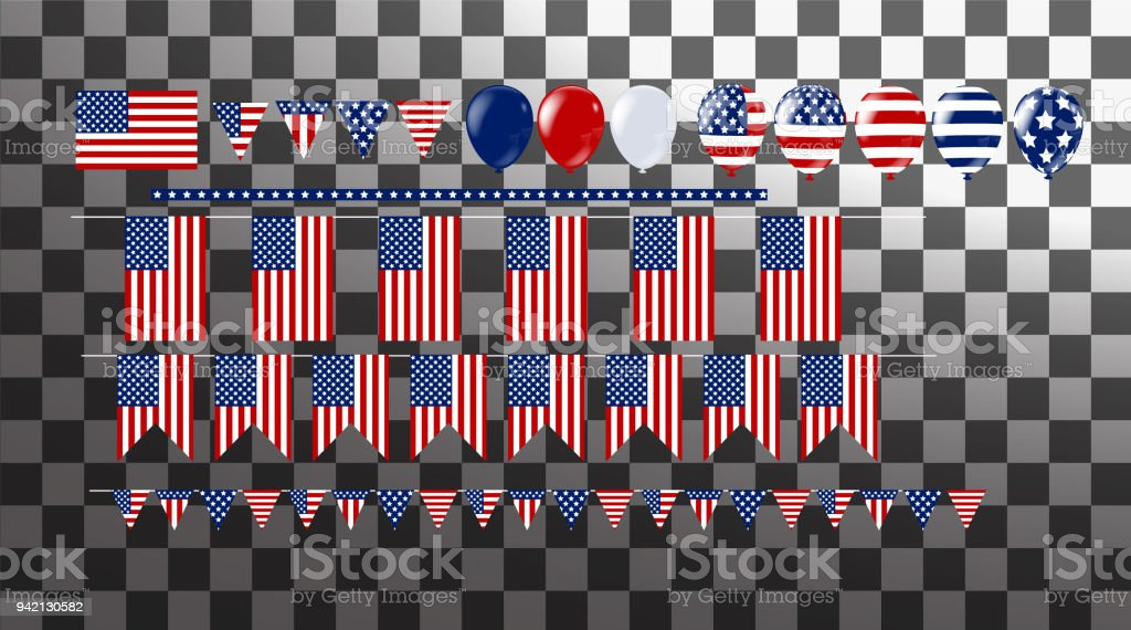Illustration Bunch Of Flag And Balloons Party Decorations For