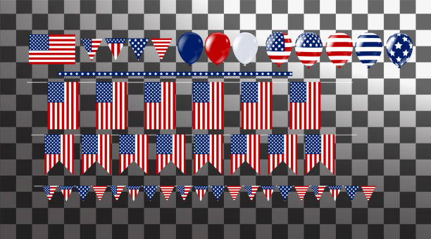 illustration bunch of  flag and balloons . party decorations for wedding, anniversary, celebration, event design, 4th july independence day - happy 4th of july stock illustrations