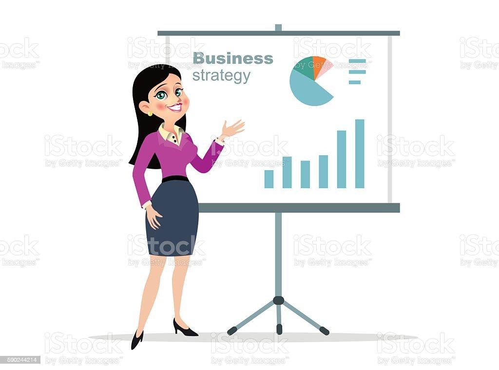 illustration business woman presentation vector art illustration