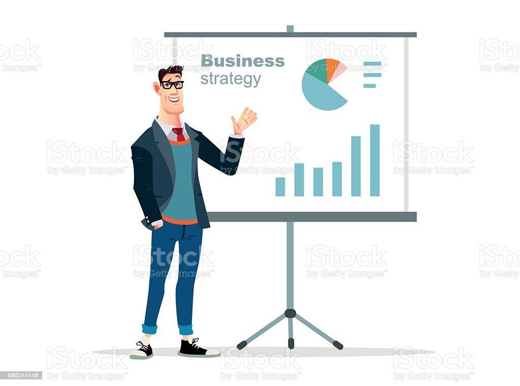 Illustration businessman presentation on white background vector art illustration