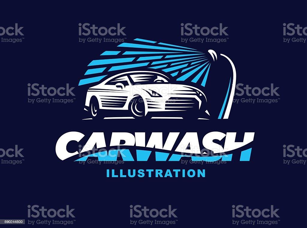 Illustration car wash on dark background. vector art illustration