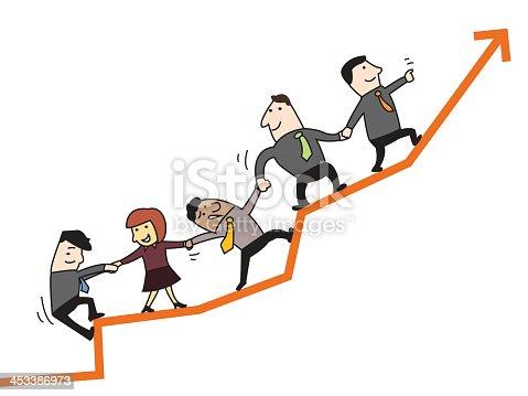Illustration Cartoon Concept Teamwork Leads To Success ...