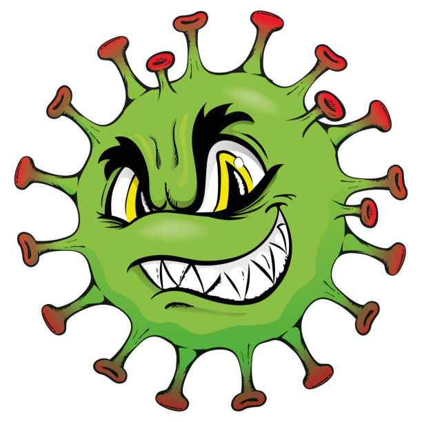 illustration cartoon corona virus ein mikroorganismus, oder monster - karikatur stock-grafiken, -clipart, -cartoons und -symbole