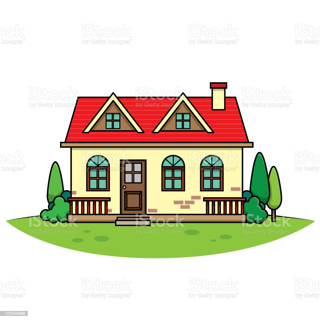 Illustration Cartoon Image Red Roof House For Those Who Want To Use For Teaching Media Or Childrens Books Stock Illustration Download Image Now Istock