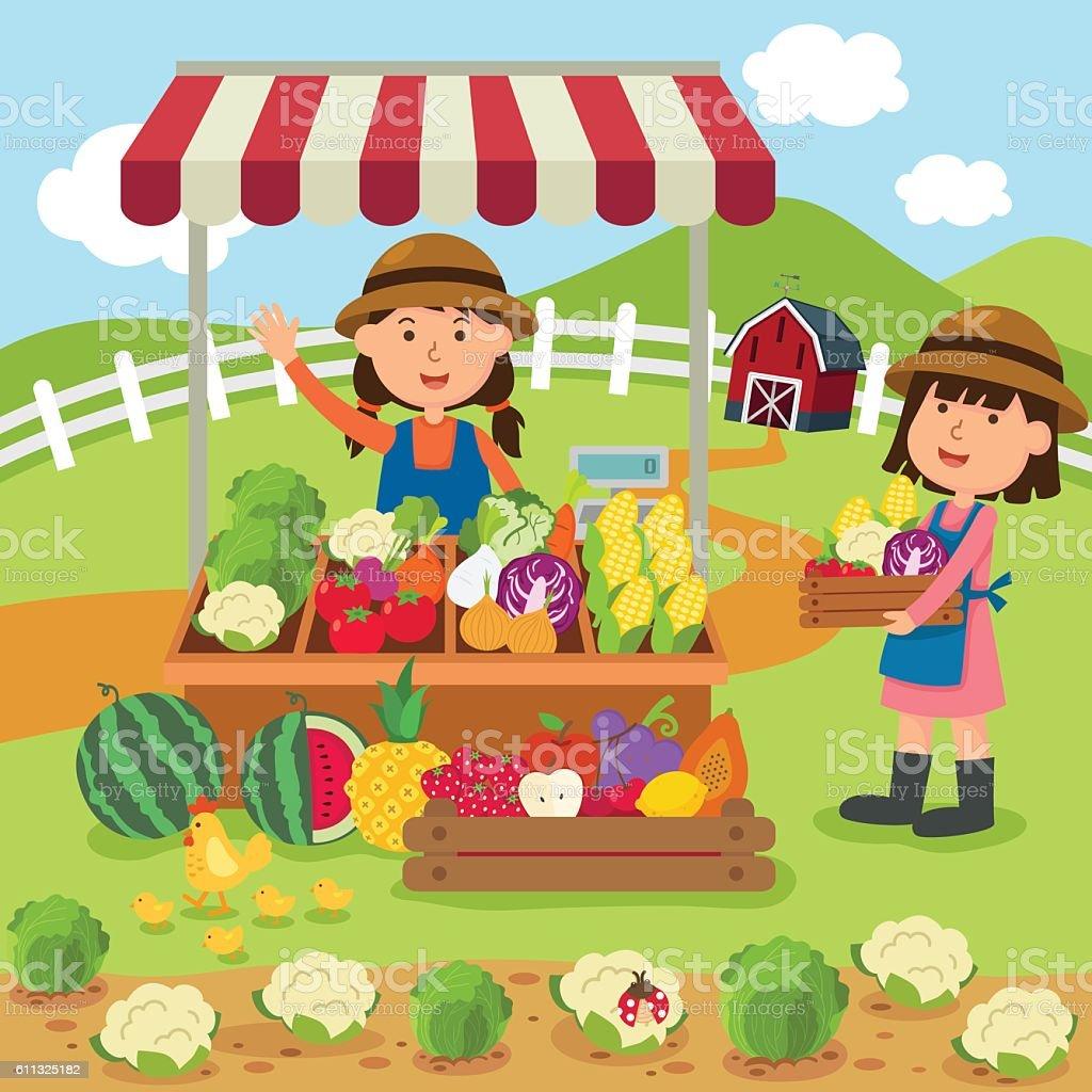 illustration cartoon woman sells fresh vegetables and fruits hom - ilustração de arte em vetor