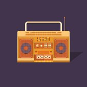 Illustration of a vintage cassette tape recorder. Nostalgia. Music of the 80s and 90s. Poster music retro party. Background for banner, invitation, postcard, ticket, card, album and others.