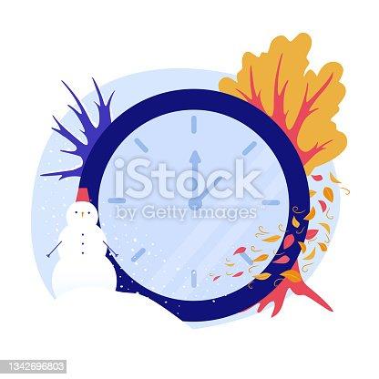 istock illustration clock time winter summer clock pole spring autumn 1342696803