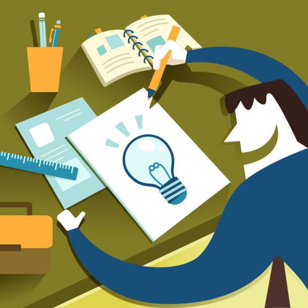 illustration konzept der kreative inspiration - filzarbeiten stock-grafiken, -clipart, -cartoons und -symbole