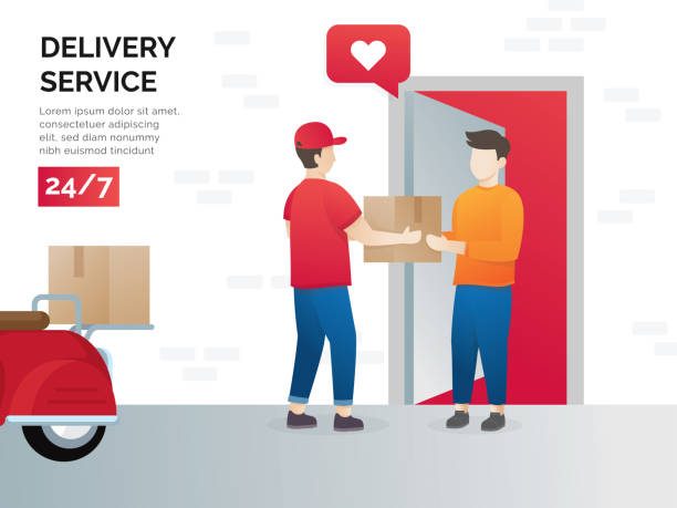 Illustration concept of freight forwarding services Illustration concept of freight forwarding services. Vector illustration concept for delivery service, e-commerce. Receiving package from courier to customer. Delivery parcel to door. Vector receiving stock illustrations