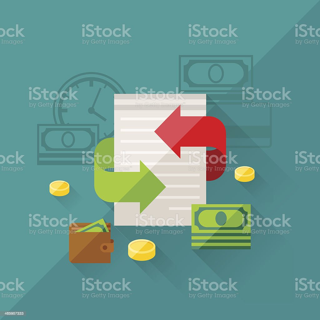 Illustration concept of refinance in flat design style. vector art illustration