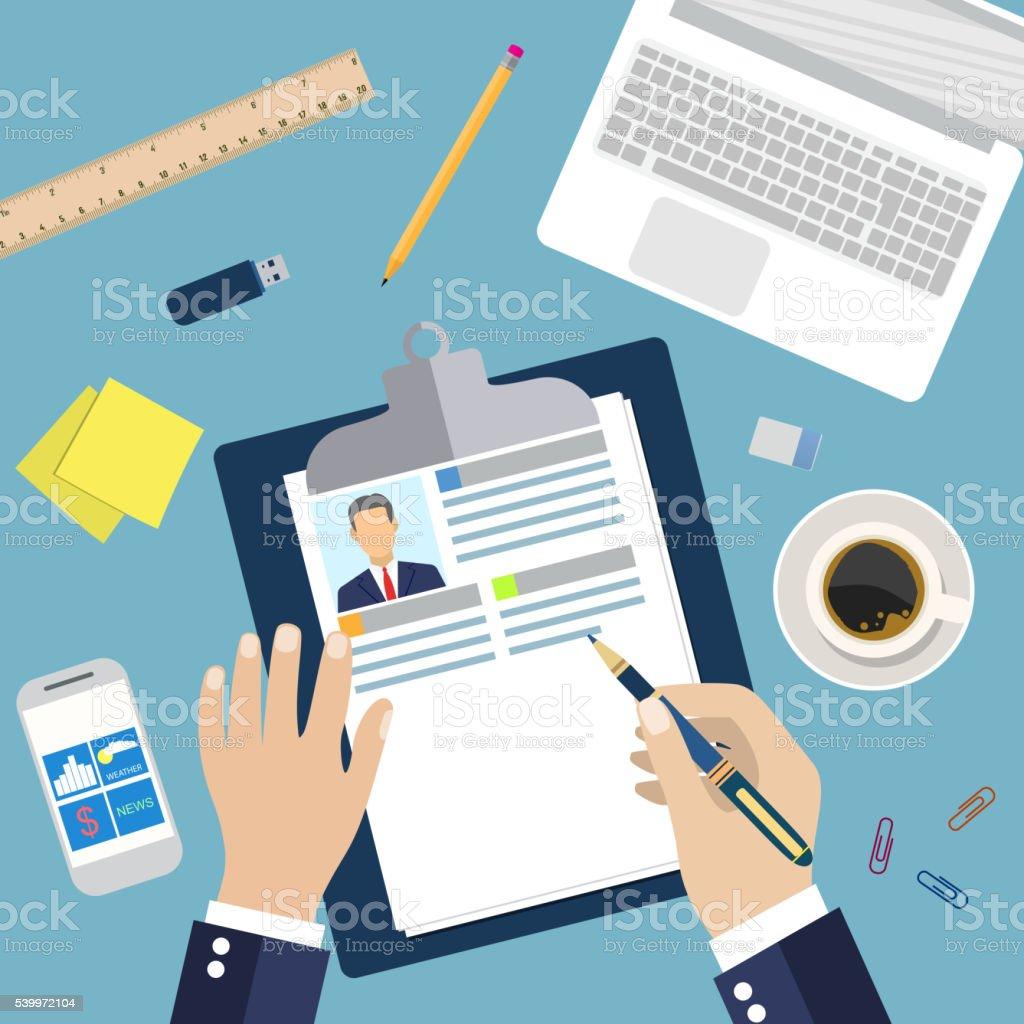 Ilustración de Ilustración Concepto De Reanudar Escrito y más banco ...