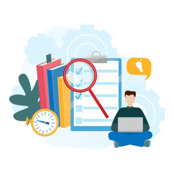 ilustrações, clipart, desenhos animados e ícones de conceitos de ilustração para a educação on-line, e-learning, e-livro. - college people laptop