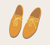 Fashion Illustration of a smart trendy and quirky pair of hand made brogue shoes. Mens or womens. EPS 8, easily editable, global colours.