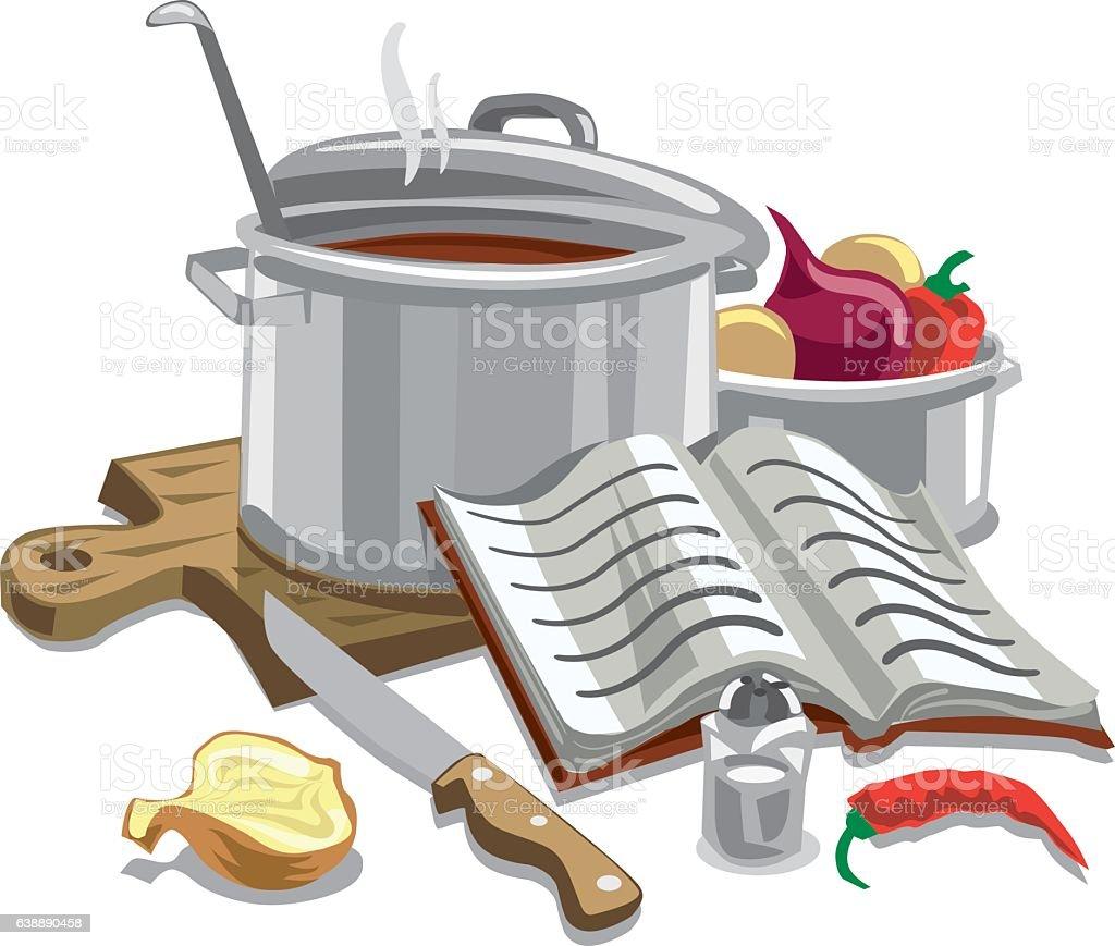 illustration cooking soup vector art illustration
