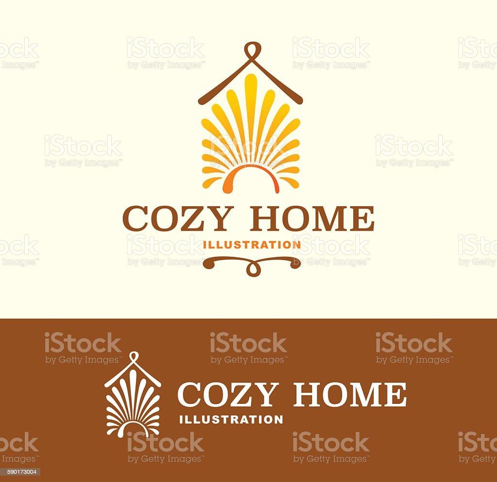 illustration Cozy Home on light and dark color vector art illustration