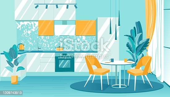 Illustration Cozy Interior Kitchen in Apartment. Beautiful Kitchen Furniture Installed Spacious Room. On Kitchen Table there are Dishes and an Electric Kettle. Next to Dining Table and Chairs.