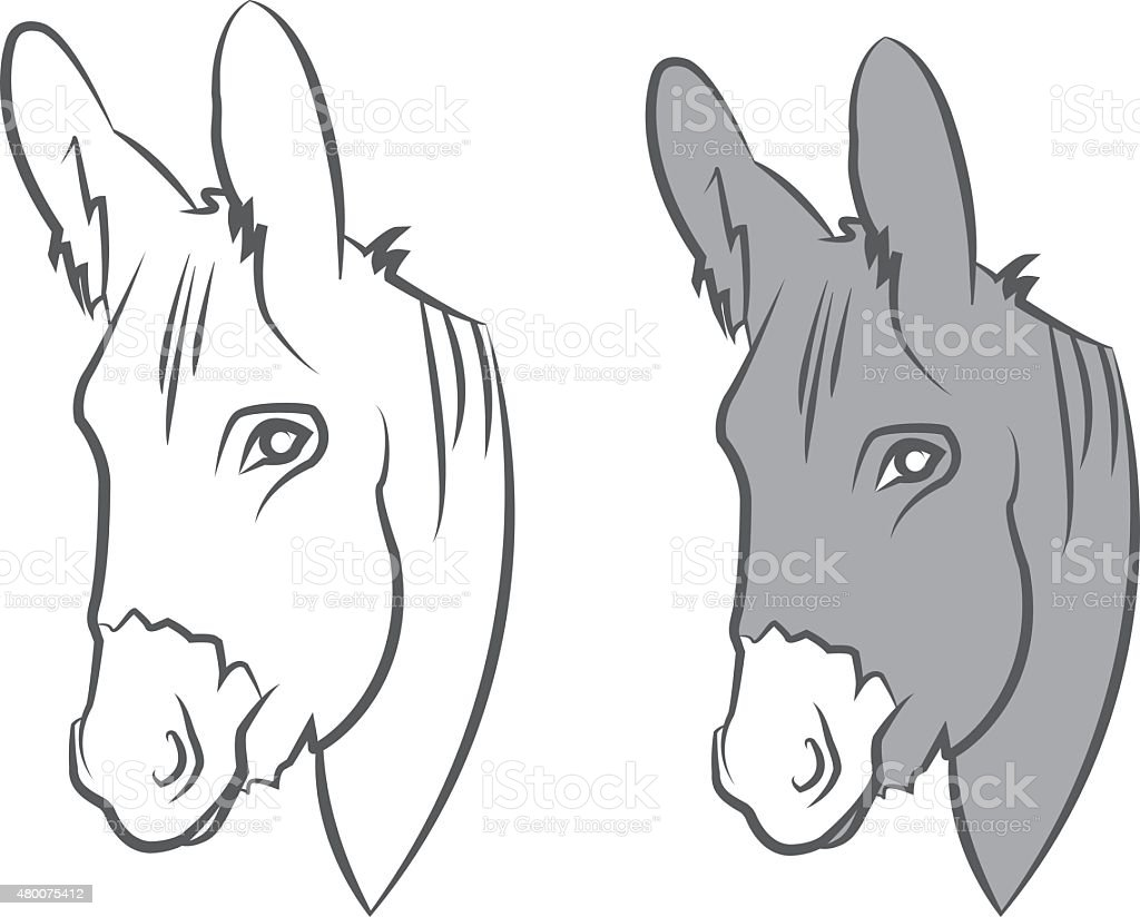 Illustration cute draw donkey. Vector vector art illustration