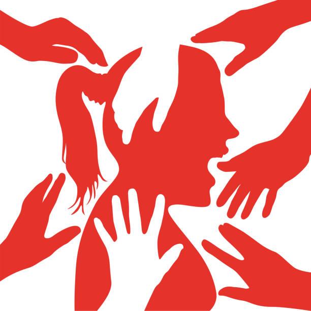 Illustration denouncing the sexual harassment of women. vector art illustration